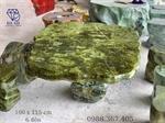 Bàn ghế đá tự nhiên ngọc serpentine xanh