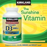 Kirkland Signature ™ Vitamin D3 2000 IU, 600 Softgels - Hàng xách tay từ Mỹ