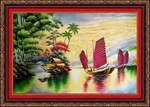 Tranh Đá Quý Thuận Buồm Xuôi Gió ( 40cm x 60cm )