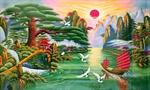 Tranh Đá Quý Tùng Hạc Đón Khách (60x90)