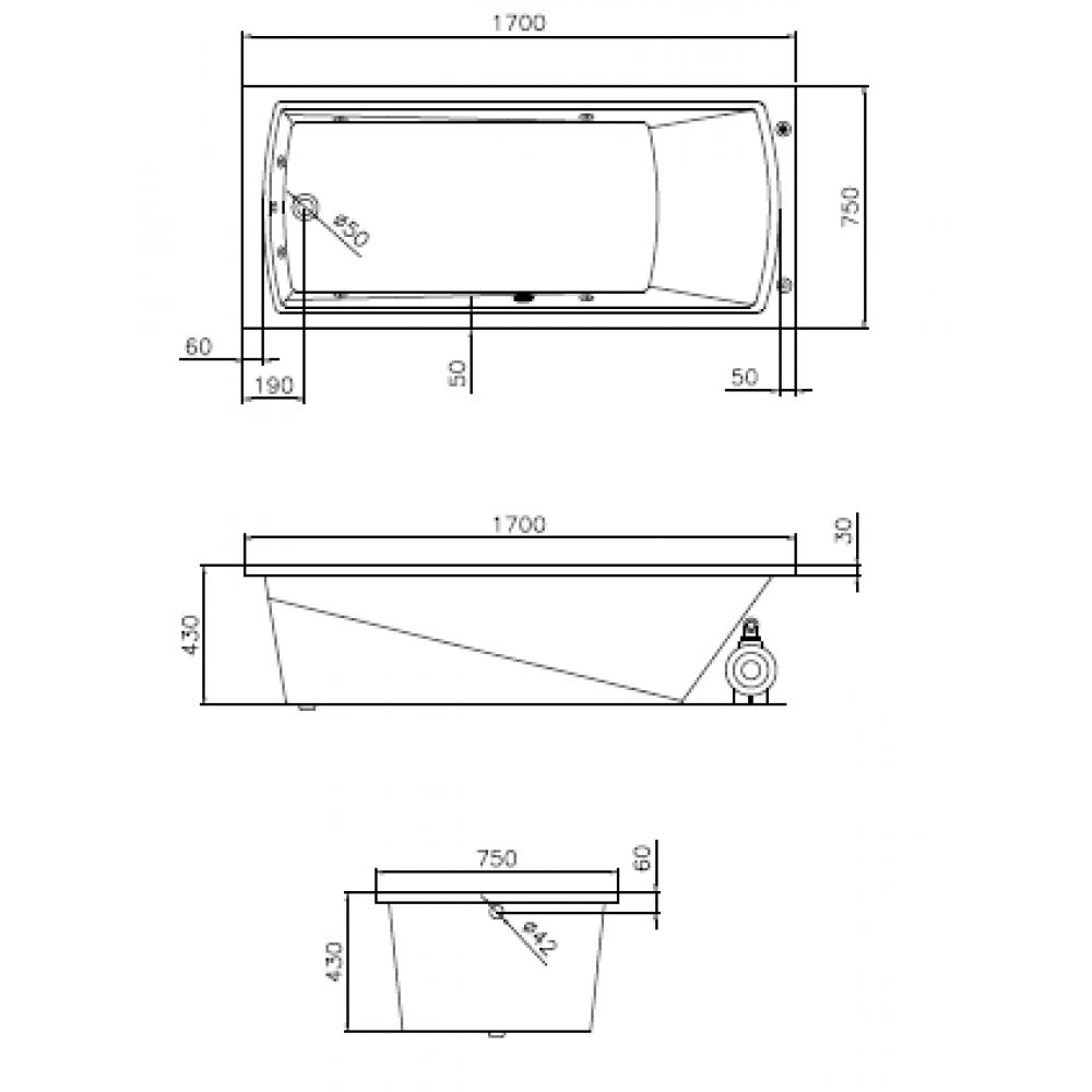 bản vẽ bồn tắm caesar AT0670