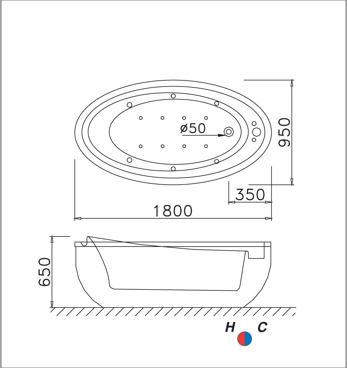 bản vẽ bồn tắm AT6480