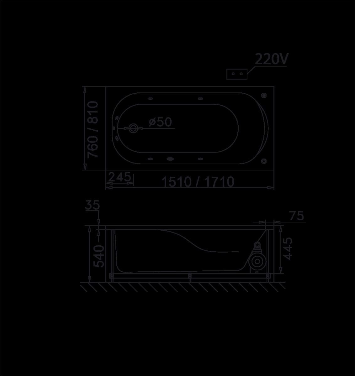 bản vẽ bồn tắm caesar MT0150