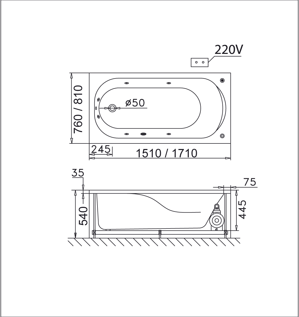 bản vẽ bồn tắm caesar MT0170L(R)