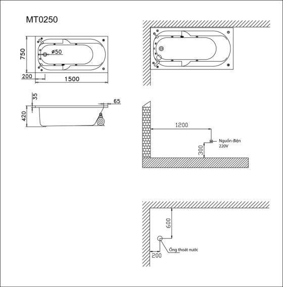 bản vẽ bồn tắm caesar MT0250
