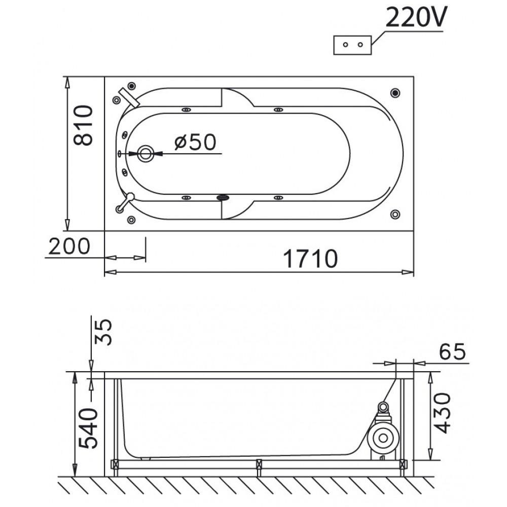 bản vẽ bồn tắm caesar MT0270