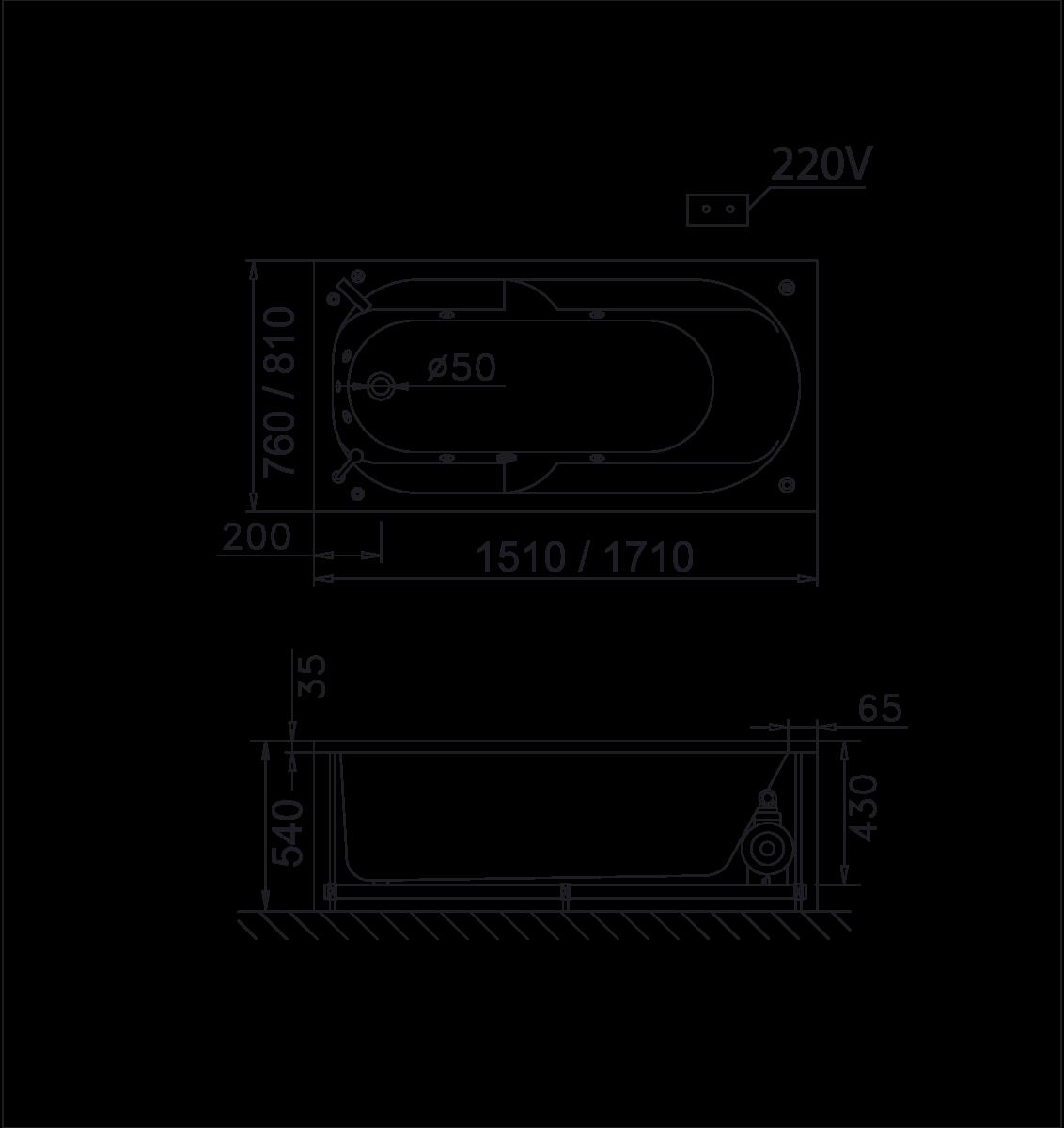 bản vẽ bồn tắm caesar MT0250L(R)