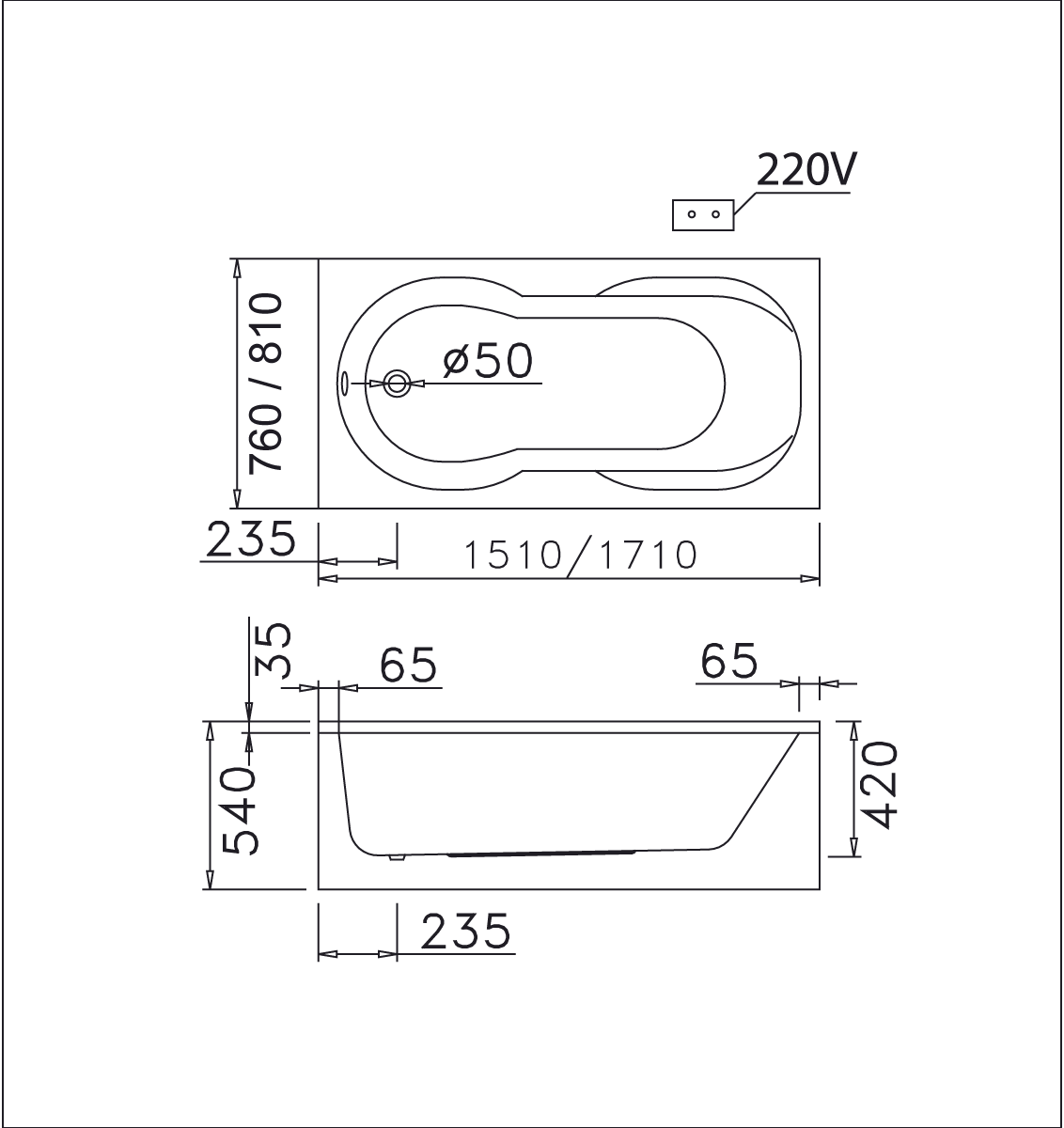bản vẽ bồn tắm caesar MT0350L(R)
