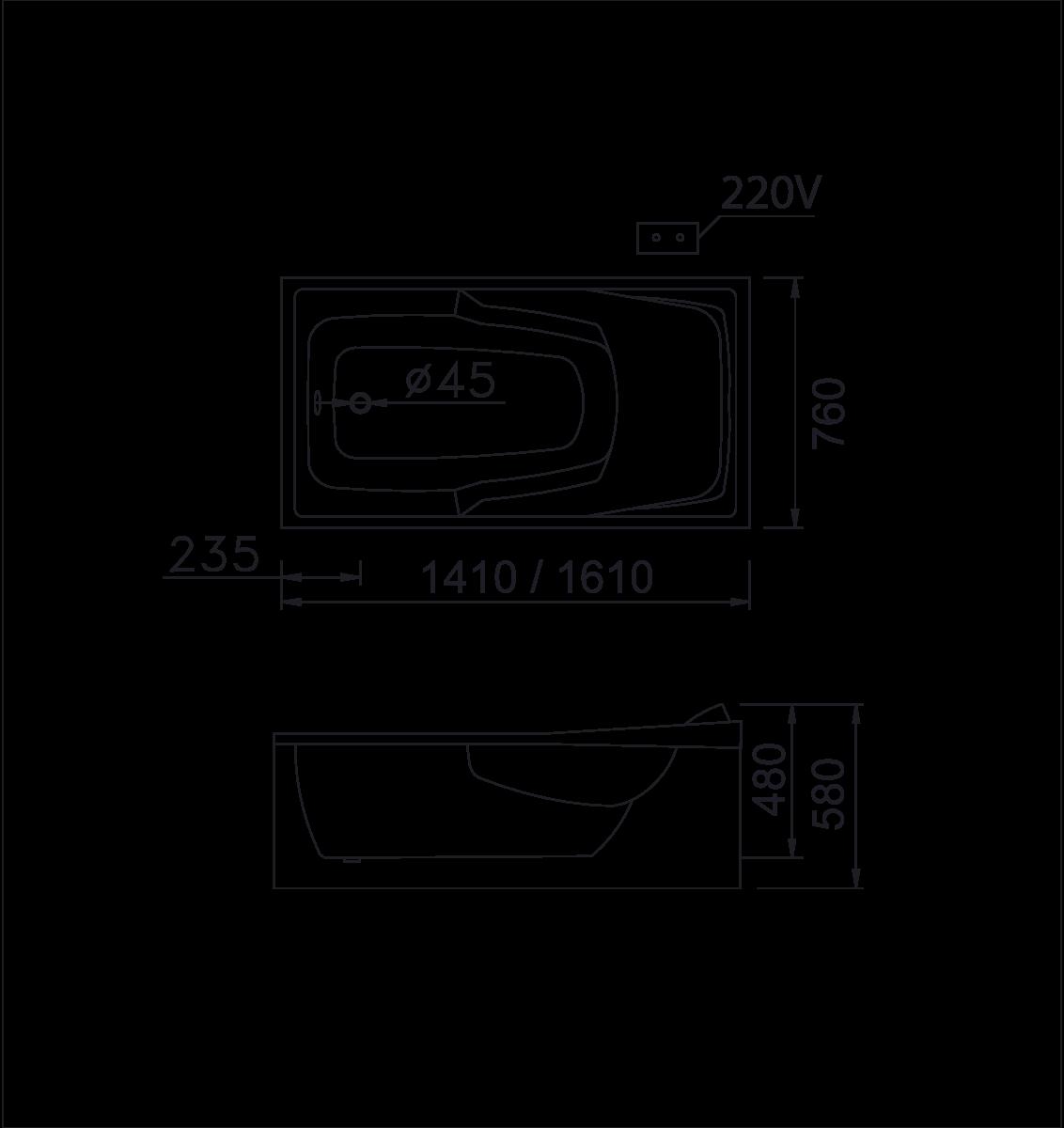 bản vẽ bồn tắm caesar MT0460