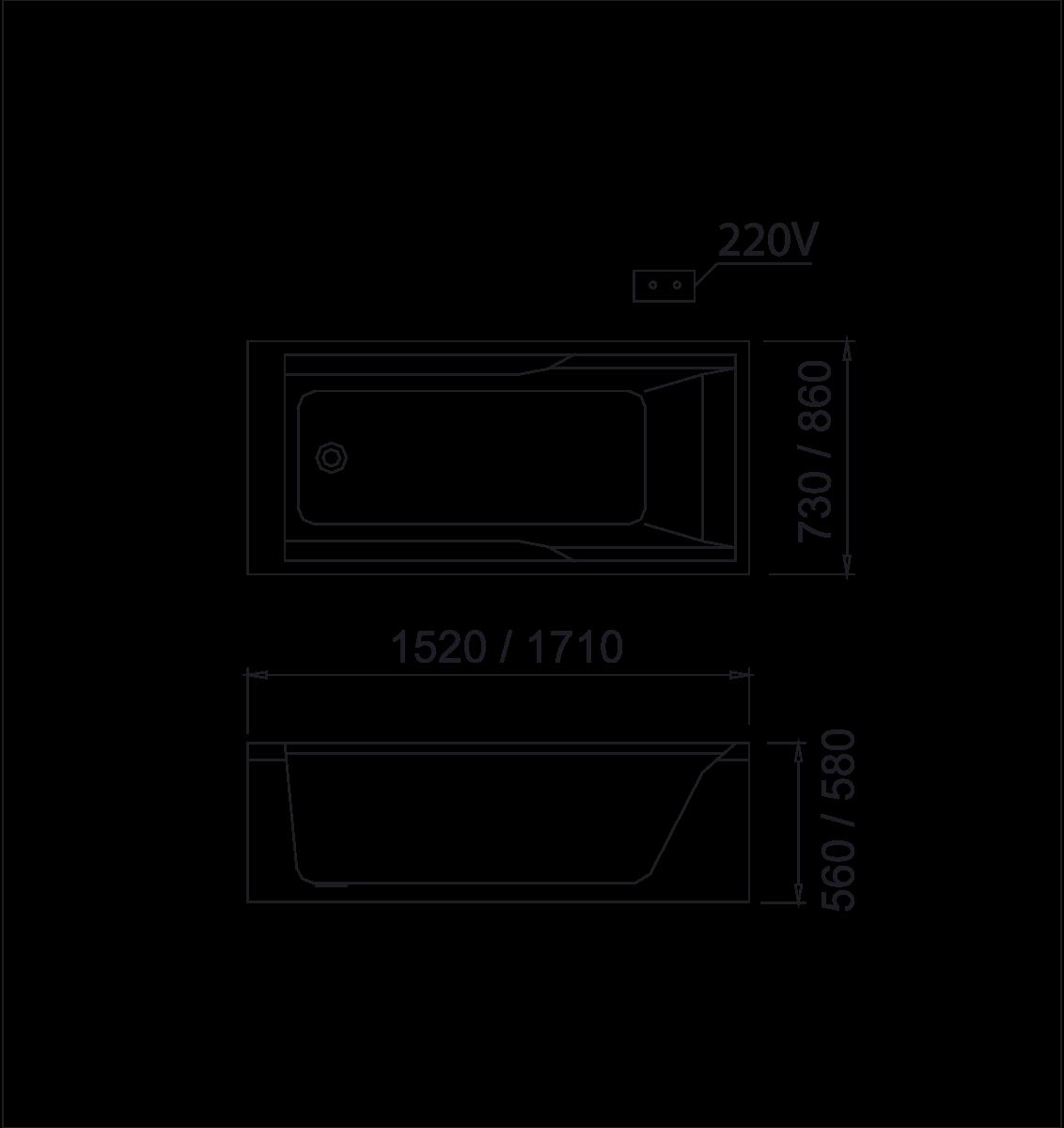 bản vẽ bồn tắm caesar MT0550