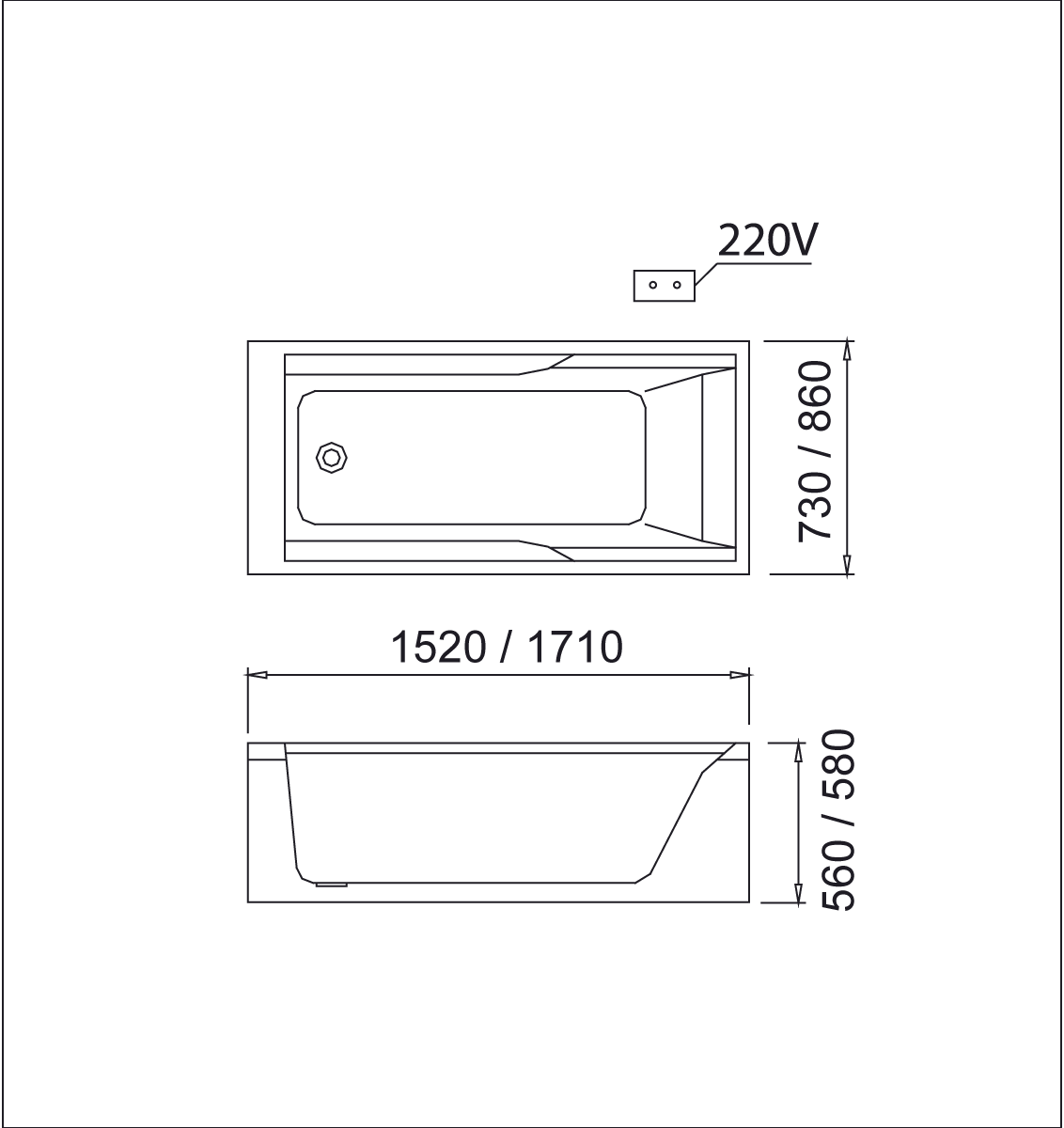 bản vẽ bồn tắm caesar MT0550L(R)