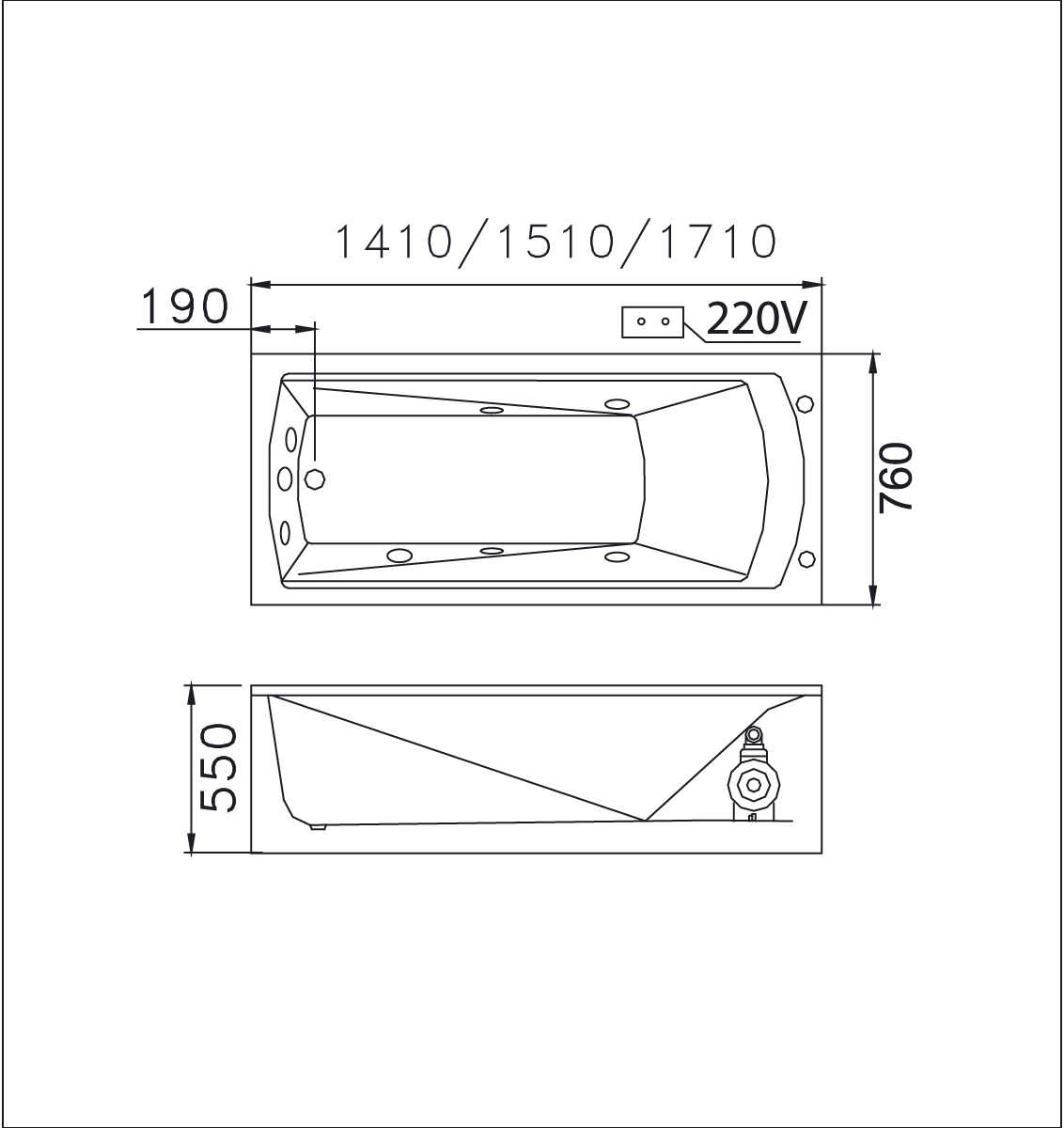 bản vẽ bồn tắm caesar MT0650L(R)