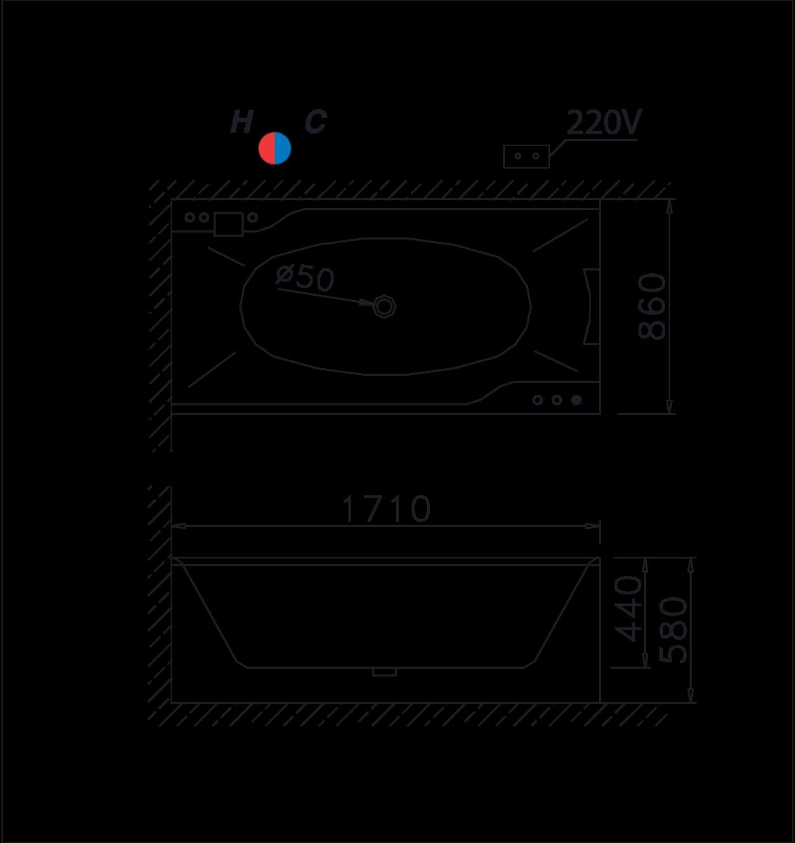 bản vẽ bồn tắm caesar MT0870L(R)