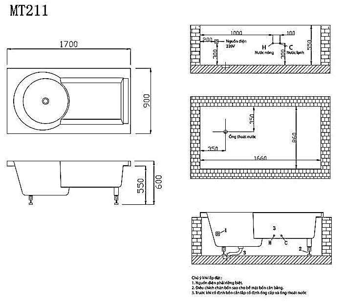 bản vẽ bồn tắm caesar MT211A