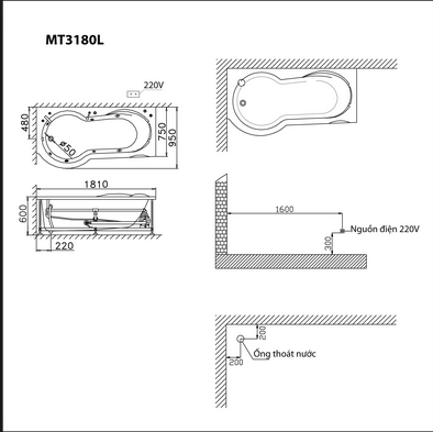 bản vẽ bồn tắm caesar MT3180AL(R)