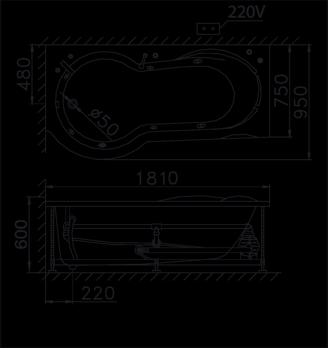 bản vẽ bồn tắm caesar MT3180L(R)