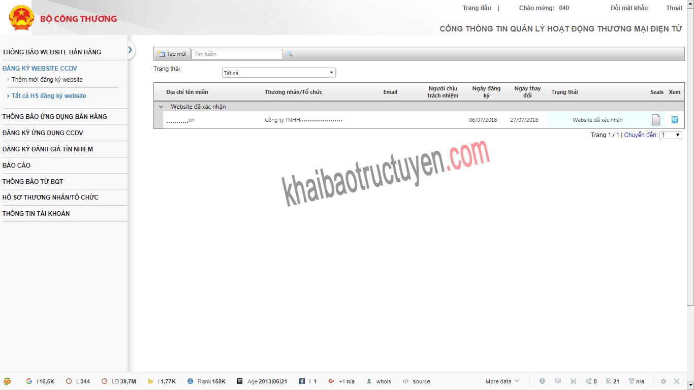 Thông báo hoặc đăng ký website thương mại điện tử không thành công