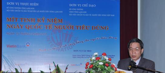 PHÁT BIỂU KHAI MẠC CỦA CHỦ TỊCH HỘI TẠI LỄ MÍT TINH KỶ NIỆM NGÀY NGƯỜI TIÊU DÙNG QUỐC TẾ 2011